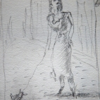 French woman with her dog
